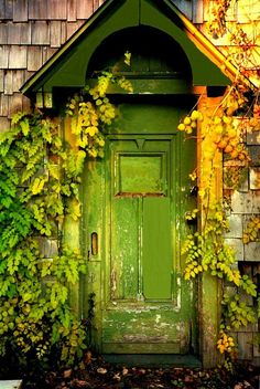 Worn green door.
