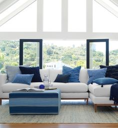 An inspired home collection. Luxury bedding, furniture, décor, nursery and more. Blue Couches, White Rooms, Home Collections, Decoration, Luxury Bedding, Interior Design Living Room, Outdoor Furniture Sets, Family Rooms, Living Rooms
