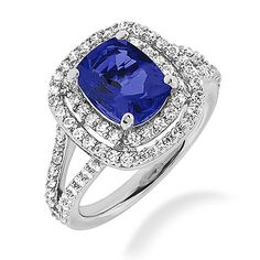 5.07ct AAA Tanzanite & Diamond Engagement Cocktail Ring Split Band