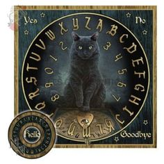 His Masters Voice Black Cat Spirit Ouija Board with Planchette Free Wild One Wolf Spirit Board from Tarot. Wiccan, Pagan, Magick Spells, Witchcraft, Fluffy Black Cat, Black Cats, Pendulum Board, Lisa Parker, His Masters Voice