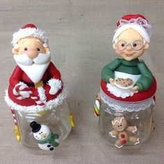 Diy Christmas Ornaments, Diy And Crafts, Christmas Crafts, Christmas Decorations, Clay Jar, Polymer Clay Christmas, Jar Art, Clay Ornaments, Clay Figures