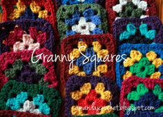 Free pattern for a basic, multi-color granny square motif. Perfect for using up those scrap yarns you haven't found a use for yet! Granny Square Blanket, Granny Squares, Crochet Squares, Diy Arts And Crafts, Easy Crochet, Free Pattern, Knitting Patterns, Scrap, Bohemian