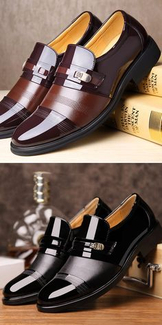 US$34.83 Men Cap Toe Pointed Toe Slip On Business Formal Shoes#shoes #summer #work #formal #style