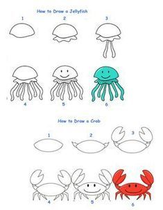 Animal Drawings Fun activity that gives students step by step directions for How to Draw 6 different Sea Creatures - Art Drawings For Kids, Doodle Drawings, Drawing For Kids, Cartoon Drawings, Easy Drawings, Doodle Art, Animal Drawings, Art For Kids, Drawing Ideas