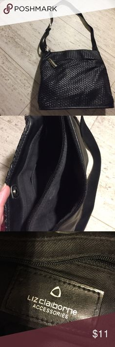 """Black purse Liz Claiborne black bag. Tag does not read leather, but texture is like soft leather. 2 large openings with one being a zipper. Front of purse also has a zipper pocket. Measures 10 1/2"""" high ( @ center) and 11"""" wide (@center) Liz Claiborne Bags Shoulder Bags"""