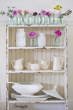 Tips for styling a farmhouse cabinet with ironstone and creamware