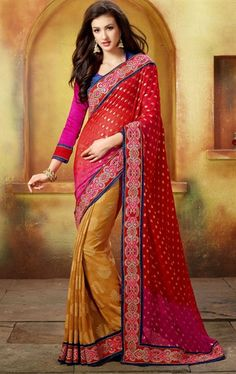 Picture of Impressive Maroon and Orange Saree for Party