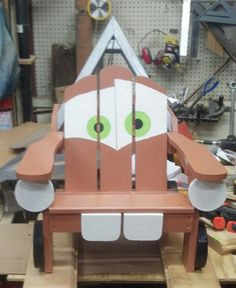 Tow Mater ready for a new home. Child's Adirondack chair.
