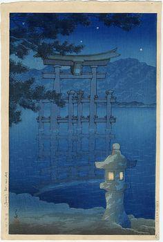 Kawase Hasui  - Starlit Night, Miyajima