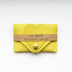 Perfect gift for not so serious businesswoman. Lovely business card Holder / Heart Card Case made of Yellow leather – a unique product by LaLisette via en.DaWanda.com