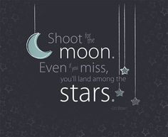 "Shoot for the moon...paint canvas with a dark blue paint (2 colors darker at top and blend).  Draw design with a white pencil first then paint over.  Change stars to big dipper/little dipper then poke holes in the stars and put ""fairy"" lights in.  SO CUTE!"
