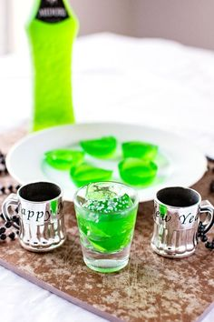 Jello shots infused with the taste of Midori Sour, giving them a sweet melon flavor. What's not to love?