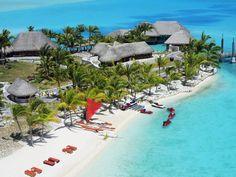 Bora Bora, French Polynesia  The private beach at the St. Regis Bora Bora Resort