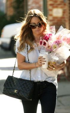 coffee, fresh flowers, chanel handbag=perfection