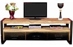 Mesa Tv Industrial Vintage Rack Madera Hierro 1,60 Metros - $ 14.000,00 Smart Tv, Vintage Industrial, Flat Screen, Audio, Shopping, Wood, Grand Designs, Workshop Layout, Home Furniture