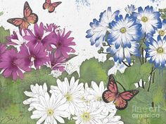 Washy Watercolor Painting - Florals And Butterflies-jp3832 by Jean Plout
