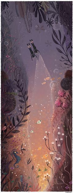 simple japanese cartoon art style illustration of underwater landscape the explorers Neiko Ng, delicate and lovely with all the floral like detail, and moody colors Art And Illustration, Book Illustrations, Doodle Drawing, Foto Poster, Arte Sketchbook, Drawn Art, Art Plastique, Oeuvre D'art, Art Blog