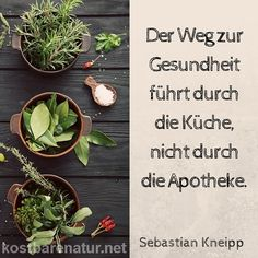 Der Weg zur Gesundheit führt durch die Küche, nicht durch die Apotheke. - Sebastian Kneipp - Elke Gö - Kosmetikum Nature Poem, Go Veggie, Kitchen Herbs, My Secret Garden, Herbal Medicine, Raw Vegan, Superfood, Restaurant Bar, Herbalism