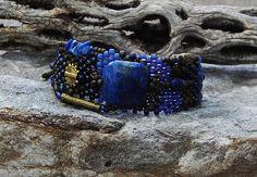 Bijoux  Bracelet  clarté  tissage de perles  Lapis par CheriCMeyer