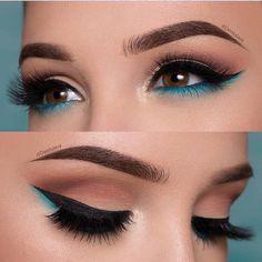 Makeup Eye Looks, Smokey Eye Makeup, Cute Makeup, Eyeshadow Makeup, Gorgeous Makeup, Blue Eyeliner, Makeup Brushes, Perfect Makeup, Makeup Remover