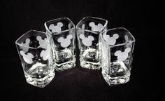 MICKEY MOUSE SHOT GLASSES ~  KITCHEN GLASS  SET OF FOUR