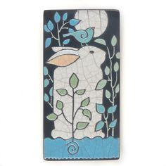 Rabbit, Bunny and Bird,4x8 raku fired art tile,handmade ceramic tile, home decor. $68.00, via Etsy.