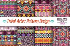 Collection Bright Aztec Patterns Graphics **Decorative Tribal Aztec Pattern Design**Description: Seamless pattern in native american style I by tomuato