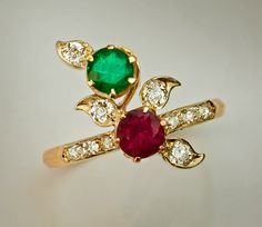 A Russian Art Nouveau Antique Ruby, Emerald and Diamond Ring, St. Petersburg, 1904-1908.