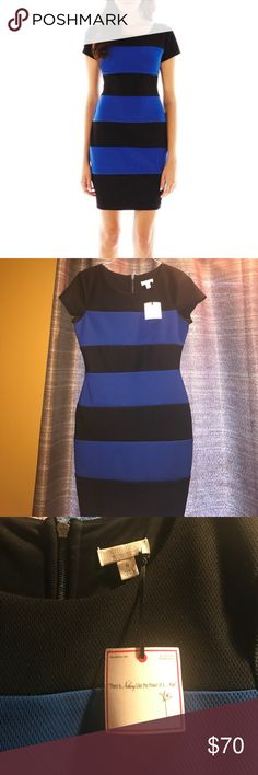 🆕👗Bisou Bisou striped dress Blue & black Horizontal Stripes, Bodycon/ sheath Dress Lining: Lightly Lined Dress Length: Mid Length Lining Material: Polyester Fabric Content: 96% Polyester, 4% Spandex Bisou Bisou Dresses