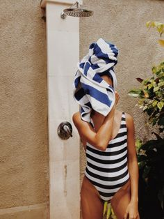 Striped swimsuit.