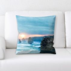 Throw Pillow Case Decor Cushion Covers Square with Hidden Zipper Closure 16x16 inches Twin-sided Print Sandy Tropical Paradise Beach with Palm Trees and the Sea Ocean Cushion Case