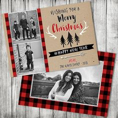 Buffalo Plaid Rustic Christmas Photo Card - Christmas Photo Card - Merry Christmas Card - 5x7 jpg (Front and Back Design) by CherryBerryDesign on Etsy https://www.etsy.com/listing/255846262/buffalo-plaid-rustic-christmas-photo
