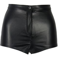 Black Wet Look PVC Shiny Disco High Waisted Hot Pants (25 CAD) ❤ liked on Polyvore featuring shorts, bottoms, short, pants, disco shorts, short shorts, high rise shorts, high waisted short shorts and high-rise shorts