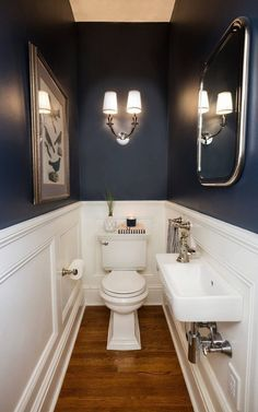 41 Cool Half Bathroom Ideas And Designs You Should See # bathroom # . 41 Cool Half Bathroom Ideas And Designs You Should See # bathroom Small Half Bathrooms, Tiny Half Bath, Small Powder Rooms, Small Half Baths, Master Bathrooms, Dark Blue Bathrooms, Modern Powder Rooms, Tiny Bathrooms, Small Toilet Room