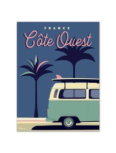 """€25 . Affiche Marcel Small Edition - Série Côte Ouest """"PALM3VAN"""" . Papier 250g/m² Couché Mat"""
