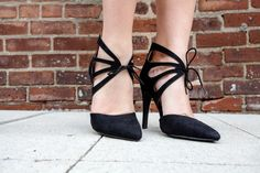 black pointed pumps tie at ankle