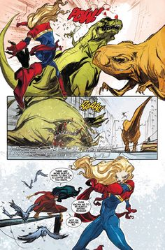 Carol Danvers aka Captain Marvel punching a dinosaur. Words by Kelly Sue DeConnick. Art by Filipe Andrade and Jordi Bellaire.. LOVED THIS.