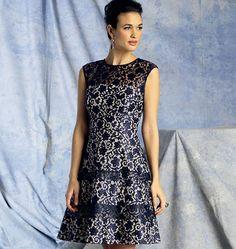 V1393   Misses' Dress by Kay Unger. Make it out of lace, chiffon or point d'esprit. #voguepatterns #weddingguestdress