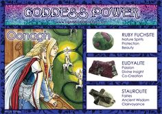 Goddess Power: Oonagh - Stones: Ruby Fuchsite, Eudyalite and Staurolite Ancient Goddesses, Gods And Goddesses, Healing Stones, Healing Crystals, Angel Guidance, Hippie Life, Crystal Magic, Minerals And Gemstones, Book Of Shadows