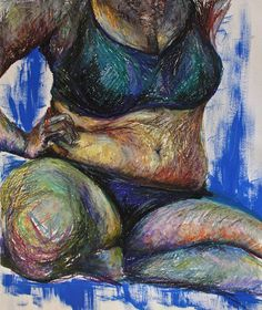 Torso study 70 X 90 Oil pastel and acrylic