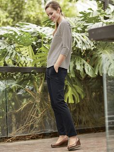 Wonderfully smart trousers - great for work. They are Navy but have a very subtle stripe in the texture of the fabric. They are a straight-leg cut and have two pockets and a zip fly. Straight Trousers, Cropped Trousers, Thick Leggings, Women's Leggings, Long Tops, Striped Tee, White Tops, Stylish, Tees
