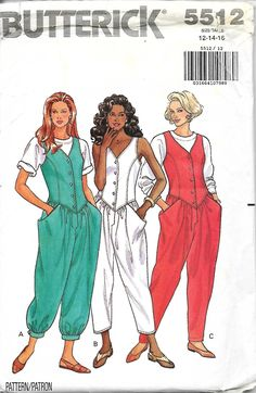 Butterick 5512 Misses Mock Vest Top Jumpsuits Sewing pattern, Size 12-14-16, UNCUT by DawnsDesignBoutique on Etsy