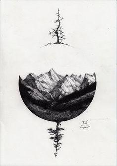 f392fe86222b8 black and white mountain tattoo - Pesquisa Google