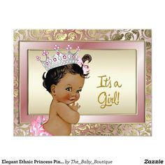 Elegant Ethnic Princess Pink and Gold Baby Shower Card - Brought to you by Avarsha.com