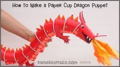 Dragon Marionette Cup Craft from www.daniellesplace.com ©2016