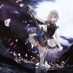 Anime picture 1500x1500 with touhou izayoi sakuya jq (artist) girl single short hair thighhighs cloud (clouds) sky ...