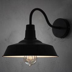 Black Barn Style Shade Wall Light with Gooseneck Arm