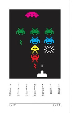 Printable 2015 Space Invaders calendar! Or is it 1979?
