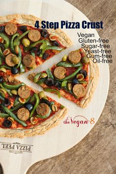 4 Step Gluten-free Pizza Crust made from one very special ingredient that is Vegan and Oil-free and requires no yeast or rise time! ONLY 8 ingredients! By http://THEVEGAN8.COM #vegan #glutenfree #pizza