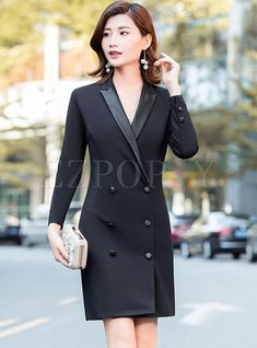 Shop Stylish Black Notched Double-breasted Bodycon Dress at EZPOPSY. Trench Dress, Double Breasted, Fashion Online, Bodycon Dress, Autumn, Stylish, Coat, Womens Fashion, Jackets